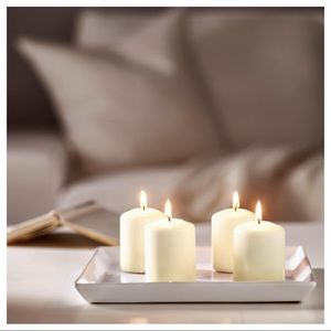 Unscented block candles, natural (4pack)
